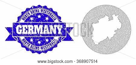 Mesh Vector Map Of North Rhine-westphalia State With Grunge Seal Stamp. Triangle Network Map Of Nort