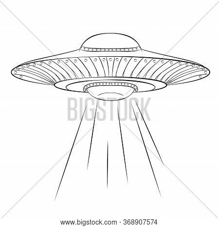 Vector Spaceship. Hand Drawn Vector Illustration Of Ufo Spaceship Isolated On White Background. Scie