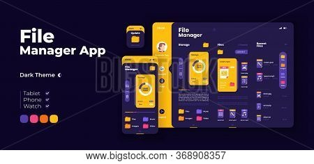 File Management App Screen Vector Adaptive Design Template. Application Night Mode Interface With Fl