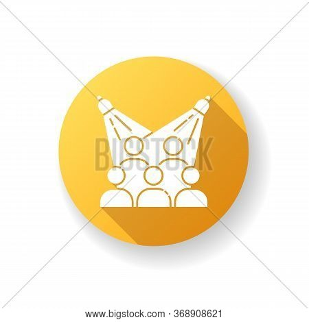 Public Event Yellow Flat Design Long Shadow Glyph Icon. Group In Auditorium. Presentation For Crowd.