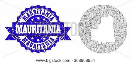 Mesh Vector Map Of Mauritania With Grunge Seal Stamp. Triangular Network Map Of Mauritania Is A Hole