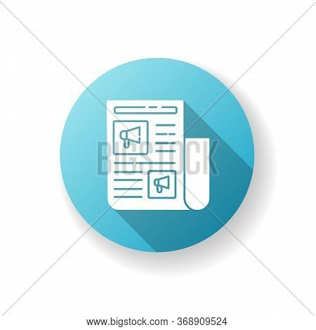 Advertorial Blue Flat Design Long Shadow Glyph Icon. Native Advertisement In Newspaper. News For Eng