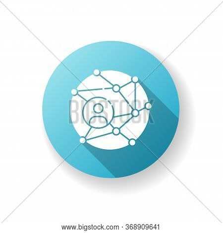 Networking Blue Flat Design Long Shadow Glyph Icon. Global Communication. Public Relation Strategy.