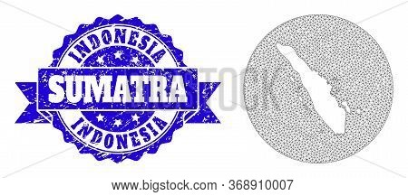 Mesh Vector Map Of Sumatra Island With Grunge Watermark. Triangle Network Map Of Sumatra Island Is C