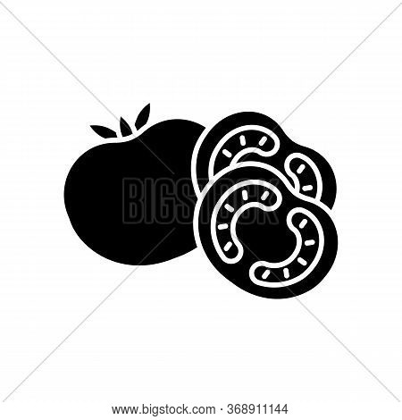 Tomato Black Glyph Icon. Ketchup Sauce Recipe. Fresh Vegetable And Nourishment. Nutrient Food With V