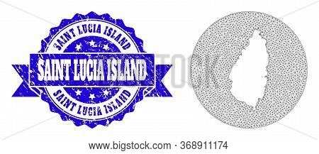 Mesh Vector Map Of Saint Lucia Island With Scratched Stamp. Triangular Mesh Map Of Saint Lucia Islan