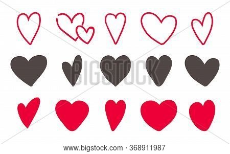 Love Hearts Icon Set. Hand Drawn Lovely Red And Outline Sketch. Vector Illustration Hand Made Heart