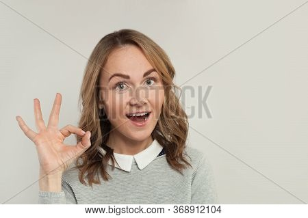 Happy Woman Showing Ok Sign On White. Happy Girl Hand Okay Symbol