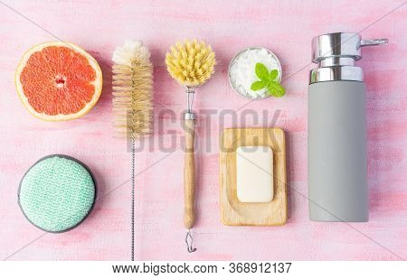 Bottle And Dish Brush, Soap, Cleaning Powder, Cotton Washcloth For Dishes. Grapefruit And Mint Near