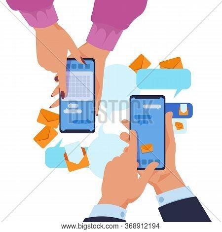 Hands Holding Smartphone. Cartoon Text Messaging And Content Sharing Via Phones Concept. Vector Illu