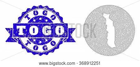 Mesh Vector Map Of Togo With Scratched Stamp. Triangle Mesh Map Of Togo Is Stencils In A Round Shape