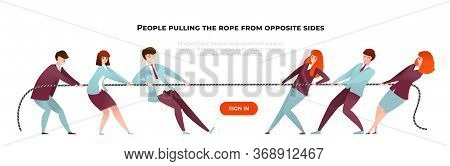 Tug War Banner. Cartoon Diverse People Pulling The Rope From Opposite Sides, Teamwork And Competitio