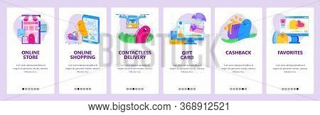 Online Shopping And Ecommerce Technology. Online Store Concept Icons Set. Mobile App Screens. Vector