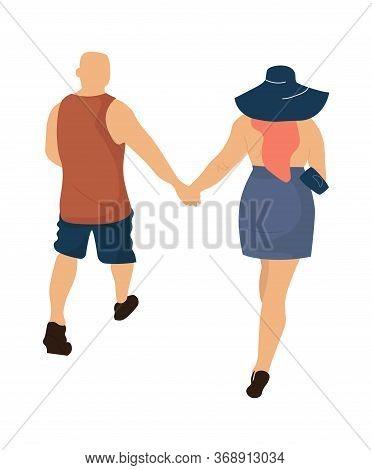 Trendy Couple. Vector Illustration Cartoon Romance People Walking. Back View Romantic Stylish Couple