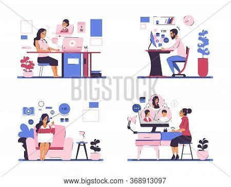 Webinar. Online Meeting And Self Education Concept With Business Cartoon Characters Staying At Home.