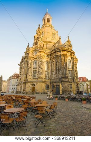 Dresden, Germany - April 29, 2018: Church Of The Virgin (frauenkirche) On April Early Morning