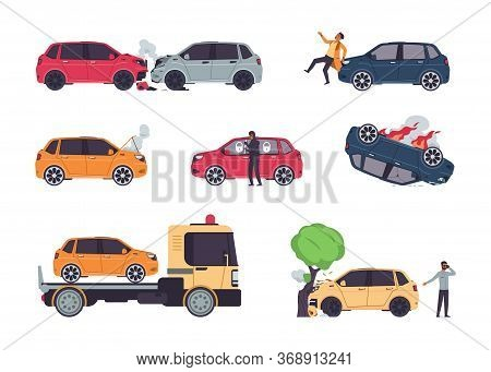 Car Accidents. Insurance Cases, Vehicle Collision And Car Crash, Theft Protection, Cartoon Damaged A