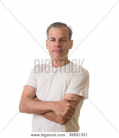 Man in white t-shirt with arms folded