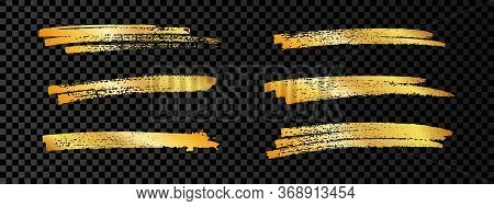 Gold Paint Brush Smear Stroke. Set Of Six Abstract Gold Glittering Sketch Scribbles Smears On Dark T