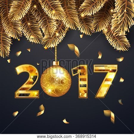 Happy New Year 2017 Banner With Golden Fir-tree Branches And Confetti And Shining Lights. Rich, Vip,
