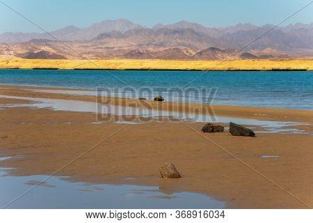 Desert Landscape And Salt Lake In National Park Ras Mohammed, Sinai, Egypt.