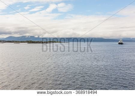 End Of Fjord, Beautiful Norwegian Landscape. View Of The Fjords. Norway Ideal Fjord Reflection In Cl