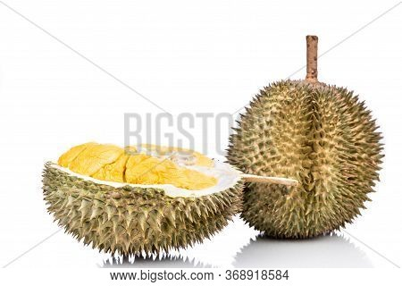 Aromatic Malaysia Durian With Ripe Soft Flesh Against White Background