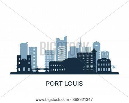 Port Louis Skyline, Monochrome Silhouette. Vector Illustration.