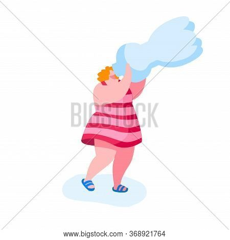 Woman Character Drinking Pure Water From Bottle Refreshing Herself In Hot Summer Weather With High T
