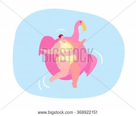 Relaxed Female Character Enjoying Summer Time Vacation Floating On Inflatable Flamingo Mattress Take