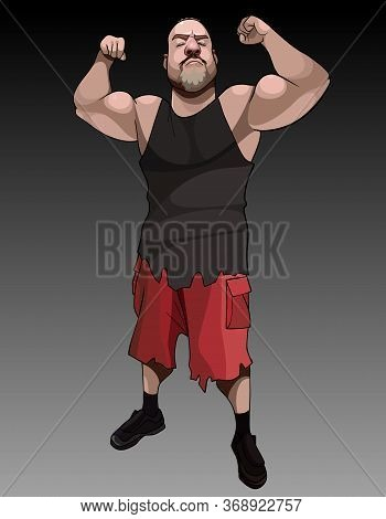 Funny Cartoon Serious Muscular Man Posing Tensing Biceps