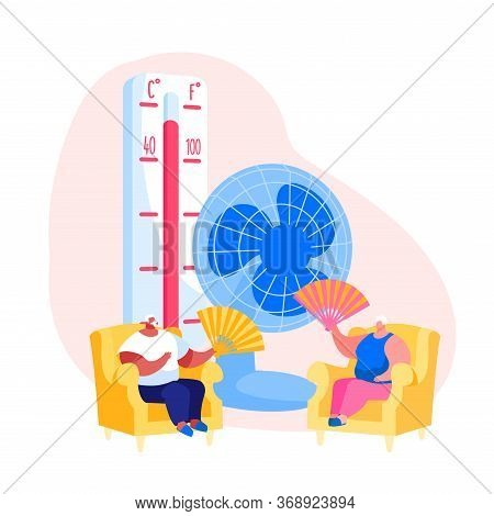 Summer Hot Period Concept. Sweltering In Heat Aged People Characters Sitting On Sofa Use Fans And Ve