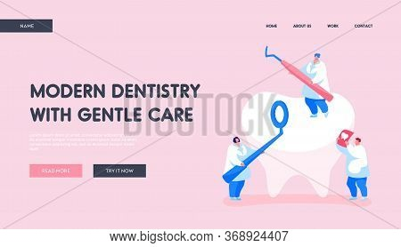 Dentistry People Working For Dental Care Teeth Landing Page Template. Tiny Dentists Characters Check
