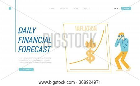Inflation, Financial Crisis, Investor Lose Money On Stock Landing Page Template.market Fall And Depr