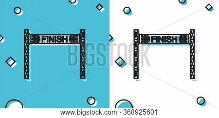 Black Ribbon In Finishing Line Icon Isolated On Blue And White Background. Symbol Of Finish Line. Sp