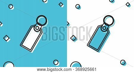 Black Rectangular Key Chain With Ring For Key Icon Isolated On Blue And White Background. Random Dyn