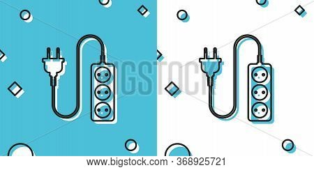 Black Electric Extension Cord Icon Isolated On Blue And White Background. Power Plug Socket. Random