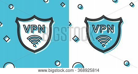 Black Shield With Vpn And Wifi Wireless Internet Network Symbol Icon On Blue And White Background. V