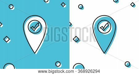 Black Map Pointer With Check Mark Icon Isolated On Blue And White Background. Marker Location Sign.