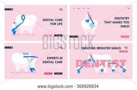 Dentist Work In Stomatology Clinic Landing Page Template Set. Tiny Doctors Characters Care Of Huge T