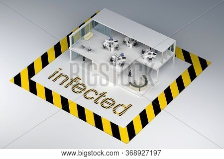 Concept Office Cutaway Building Infected. 3d Rendering