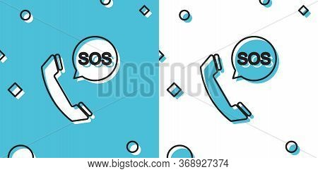 Black Sos Call Icon Isolated On Blue And White Background. 911, Emergency, Help, Warning, Alarm. Ran