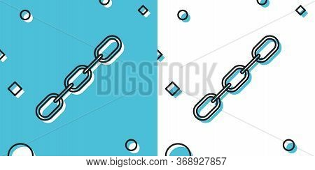 Black Chain Link Icon Isolated On Blue And White Background. Link Single. Random Dynamic Shapes. Vec