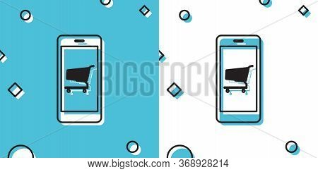 Online Shopping Concept. Shopping Cart On Screen Smartphone Icon On Blue And White Background. Conce