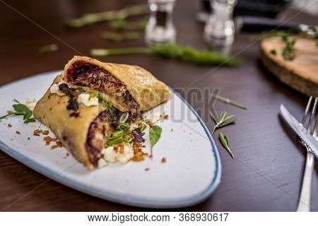 Tortilla With Pork Meat And Red Cabbage