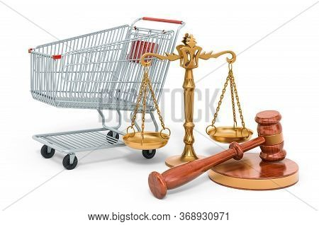 Consumer Protection Concept. Shopping Cart With Wooden Gavel And Scales Of Justice. 3d Rendering Iso