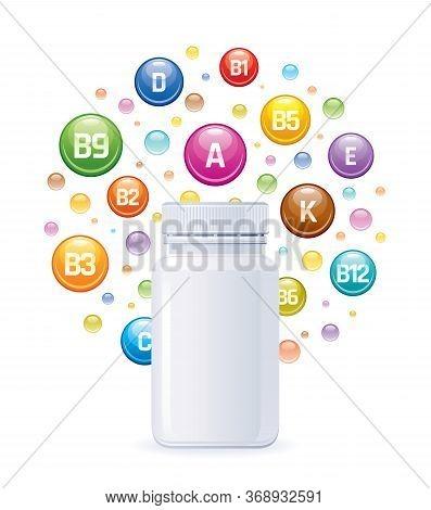 Multi Vitamin Complex Supplement. 3d Mockup With Empty Bottle Vitamins A, B1, B2, B3, B5, B6, B9, B1