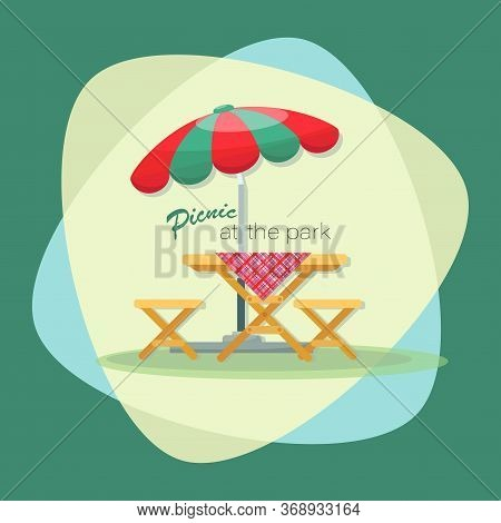 Picnic Time. Parasol. Picnic At The Park. Vector Flat Illustration. Table With Chairs. Emblem, Sign