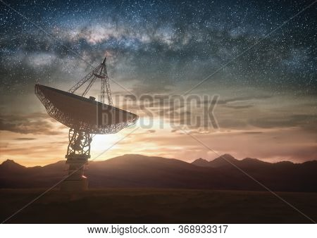Huge Satellite Antenna Dish For Communication And Signal Reception Out Of The Planet Earth. Observat