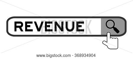 Search Banner In Word Revenue With Hand Over Magnifier Icon On White Background